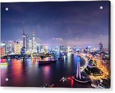 Shanghai Skyline At Night Acrylic Print by Yongyuan Dai