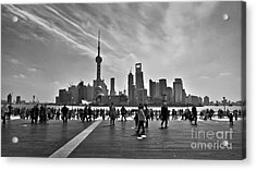 Shanghai Skyline Black And White Acrylic Print