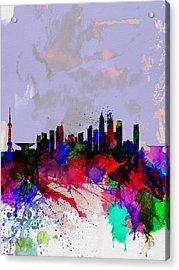 Shanghai Watercolor Skyline Acrylic Print by Naxart Studio