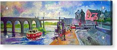 Acrylic Print featuring the painting Shannon Bridge Co Offaly by Paul Weerasekera