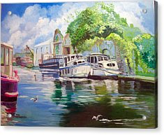 Acrylic Print featuring the painting Shannon Harbour Co Offaly Ireland by Paul Weerasekera