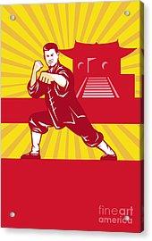 Shaolin Kung Fu Martial Arts Master Retro Acrylic Print by Aloysius Patrimonio