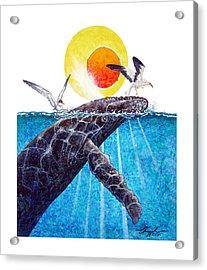 Sharing Acrylic Print by David  Chapple
