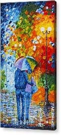 Acrylic Print featuring the painting Sharing Love On A Rainy Evening Original Palette Knife Painting by Georgeta Blanaru