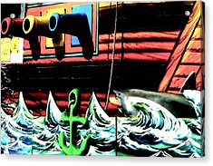 Acrylic Print featuring the photograph Shark And Pirate Ship Pop Art Posterized Photo by Marianne Dow