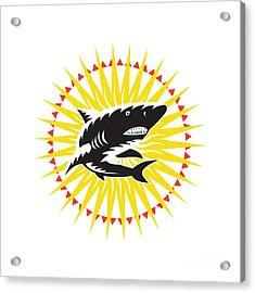Shark Swimming Up Sunburst Woodcut Acrylic Print by Aloysius Patrimonio