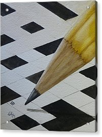 Acrylic Print featuring the painting Sharpen Your Pencil For This Puzzle by Kelly Mills