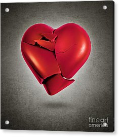 Shattered Heart Acrylic Print by Carlos Caetano