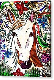 She Grazes Where Flowers Grow - Horse Acrylic Print