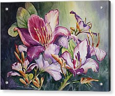 Acrylic Print featuring the painting She Love Radiant Orchids by Roxanne Tobaison