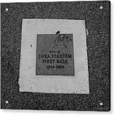 Shea Stadium First Base In Black And White Acrylic Print