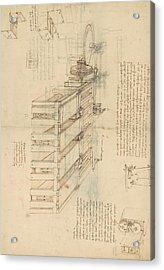 Shearing Machine With Detailed Captions Explaining Its Working From Atlantic Codex Acrylic Print by Leonardo Da Vinci