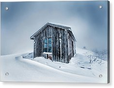 Shed In The Blizzard Acrylic Print by Evgeni Dinev