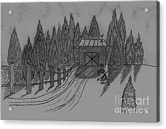 Shed In The Snow Acrylic Print by Neil Stuart Coffey