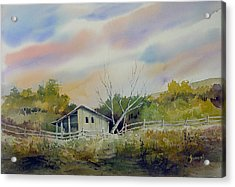 Shed With A Rail Fence Acrylic Print by Sam Sidders