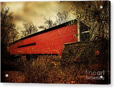 Sheeder Hall Covered Bridge 2 Acrylic Print by Judy Wolinsky