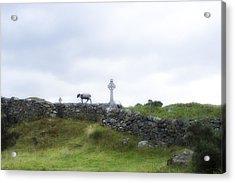 Sheep And Cross Acrylic Print by Hugh Smith