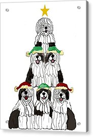 Sheepdog Christmas Tree Acrylic Print