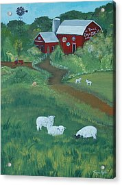 Acrylic Print featuring the painting Sheeps In The Meadow by Virginia Coyle