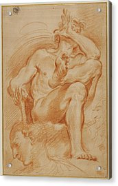 Sheet Of Studies A Seated Nude Man, A Youthful Head Acrylic Print by Litz Collection