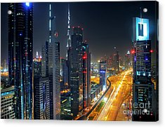 Sheikh Zayed Road In Dubai Acrylic Print by Lars Ruecker