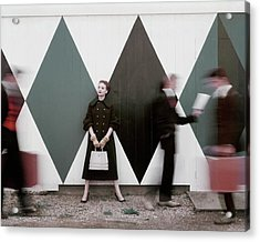 Sheila Kilgore Amid Passersby Acrylic Print by Leombruno-Bodi