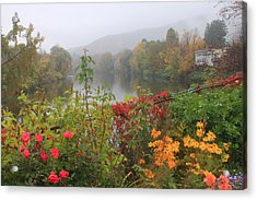 Shelburne Falls Bridge Of Flowers Autumn Mist Acrylic Print by John Burk