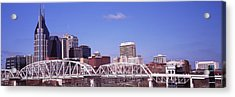 Shelby Street Bridge With Downtown Acrylic Print by Panoramic Images