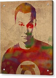 Sheldon Cooper Big Bang Theory Jim Parsons Watercolor Portrait On Worn Distressed Canvas Acrylic Print