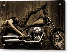 Shelley And The Harley Acrylic Print by Peter Turner
