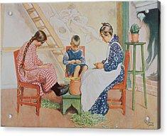 Shelling Peas, Pub. In Lasst Licht Acrylic Print by Carl Larsson