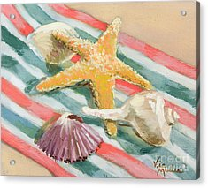 Acrylic Print featuring the painting Shells Abound by Vic  Mastis