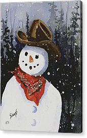 Shelly's Snowman Acrylic Print by Sam Sidders