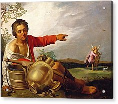 Shepherd Boy Pointing At Tobias And The Angel Acrylic Print by Abraham Bloemaert