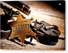 Sheriff Tools Acrylic Print by Olivier Le Queinec