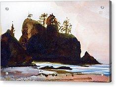 Acrylic Print featuring the painting Shi-shi Beach by Ed  Heaton