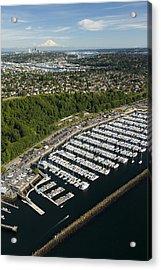 Shilshole Bay Marina On Puget Sound Acrylic Print by Andrew Buchanan/SLP