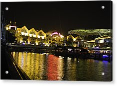 Shimmering Lights And Reflection In River Water At Clarke Quay In Singapore Acrylic Print