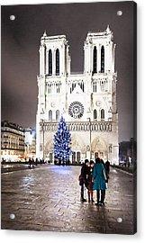 Shining Star - Notre Dame De Paris At Night Acrylic Print by Mark E Tisdale