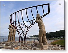 Ship Builders Sculpture Port Jefferson New York Acrylic Print by Bob Savage