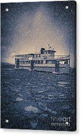 Ship In A Snowstorm Acrylic Print by Edward Fielding