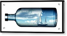 Acrylic Print featuring the digital art Ship In Bottle... by Tim Fillingim