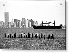 Ship In The Harbor 1990s Acrylic Print by John Rizzuto