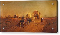 Ship Of The Plains Covered Wagons Acrylic Print by Samuel Colman
