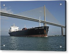 Ship Under Sunshine Skyway Bridge Acrylic Print