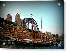Ship Under Sydney Bridge Acrylic Print by John Potts