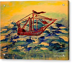 Acrylic Print featuring the painting Ship.abstract. by Viktor Lazarev