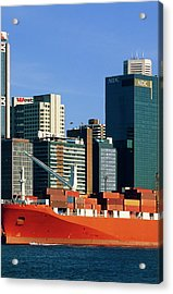 Shipping Freight In Sydney Harbour. Acrylic Print