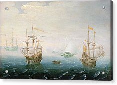 Shipping On Stormy Seas Acrylic Print by Aert van Antum