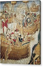 Ships 15th C.. Gothic Art. Tapestry Acrylic Print by Everett